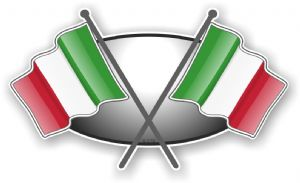 Crossed Flags Design with Italy Italian Flag Vinyl Car Sticker Decal 90x52mm
